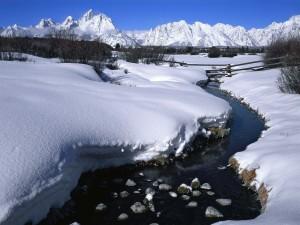 Nieve junto al riachuelo