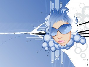 Silueta de una chica con pelo y gafas de color azul