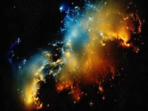 Nebulosas y brillantes estrellas en el espacio