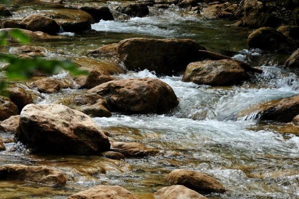 Agua corriendo entre las piedras