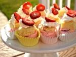 Cupcakes con helado y bizcocho