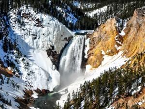 Postal: Cascada entre paredes de rocas cubiertas de nieve