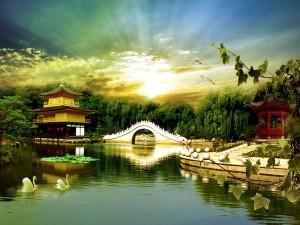 Postal: Un bello paisaje oriental