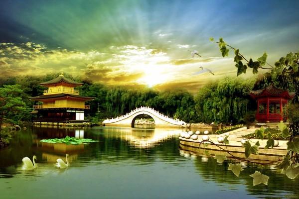 Un bello paisaje oriental