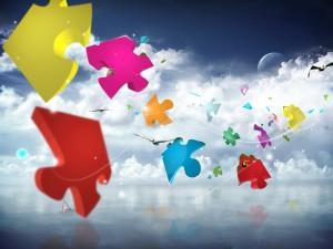 Piezas de puzzle viajando con el viento