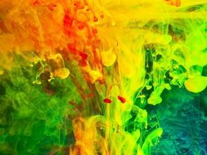 Postal: Coloridas manchas de pintura