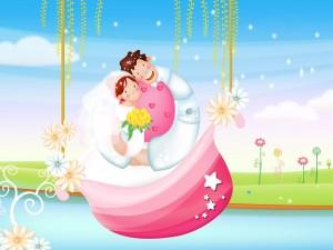 Pareja de recién casados en un bote