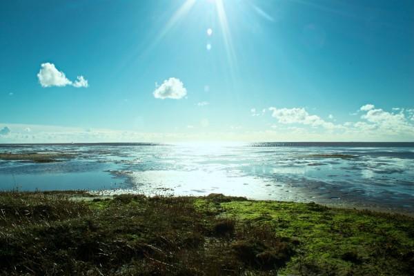 El brillante sol iluminando el cielo azul y el agua