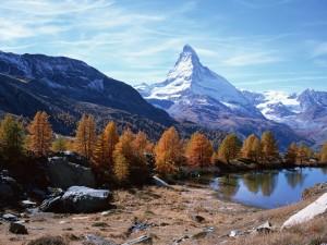 Postal: El monte Cervino visto en otoño