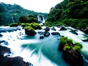 Postal: Un bonito río con algunas cascadas