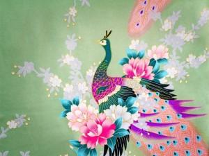 Postal: Pavo real y unas bellas flores