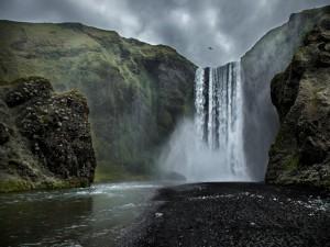 Pájaro volando sobre una inmensa cascada