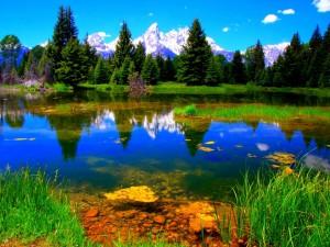 Postal: Un lago y grandes montañas