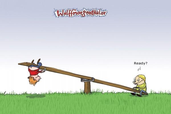 Niños en un balancín