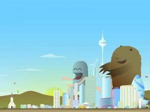 Dos grandes monstruos divirtiéndose en la ciudad