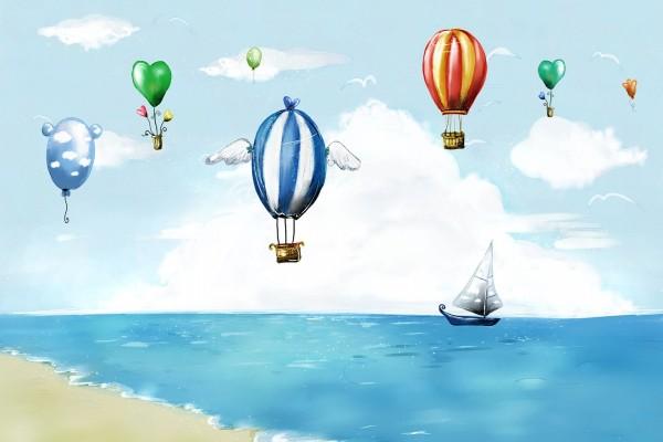 Globos viajando sobre el mar