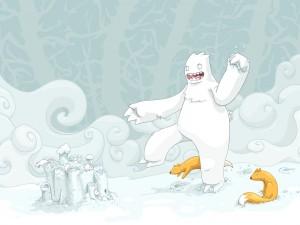 Postal: Zorros junto al monstruo de las nieves
