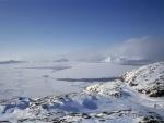 Vista de un bello y frío paisaje