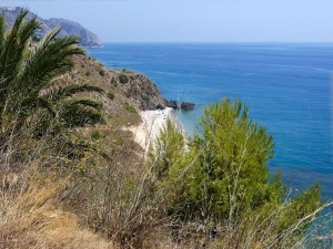 Postal: Vista de la costa tropical frente al mar Mediterráneo