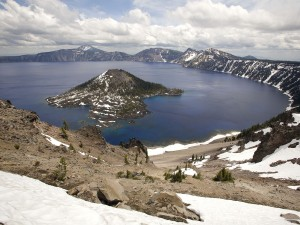 Postal: Vista de la isleta en el lago