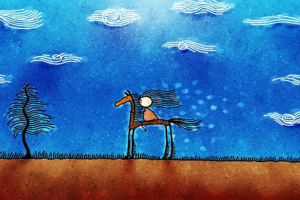 Niña sobre una jirafa