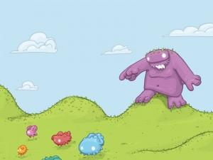 Monstruitos huyendo del gran monstruo
