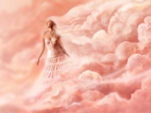 Mujer entre las flores rosas