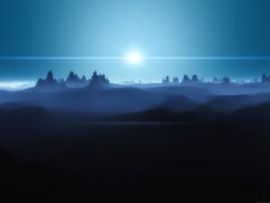 Astro brillando sobre las montañas