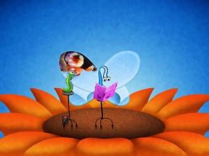 Postal: Gusano pintando las alas de la mariposa