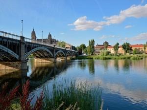 Puente de Enrique Estevan sobre el río Tormes (Castilla y León, España)