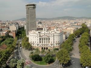 Vista de La Rambla desde la estatua de Colón (Barcelona, España)