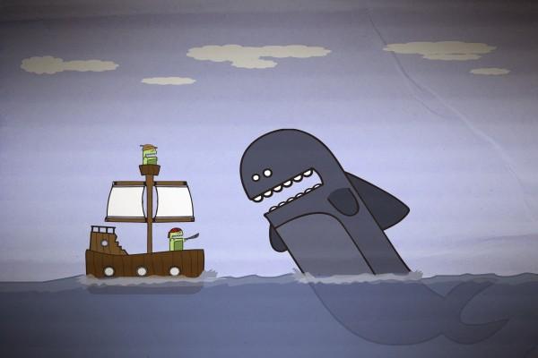 Gran ballena atacando al barco pirata