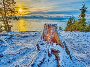 Nieve junto a un gran lago
