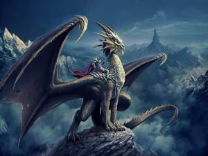 Guerrero sin cabeza sobre un gran dragón