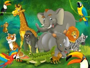 Tiernos y alegres animalitos de la selva