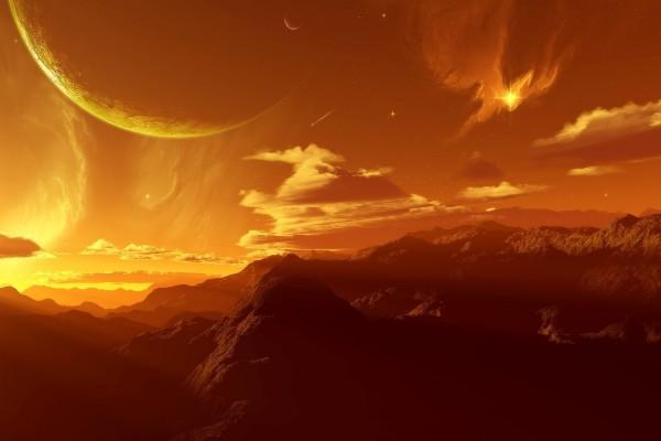 El cielo naranja de un planeta lejano