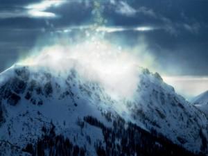 Destellos de luz en la montaña