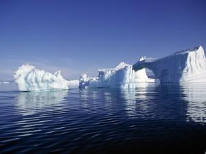 Postal: Varios icebergs en el agua