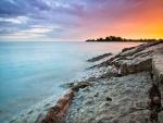 Puesta de sol en la playa de Woodbine (Toronto, Canadá)