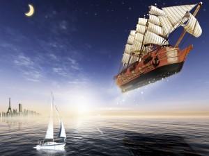 Postal: Un gran barco navegando por el cielo