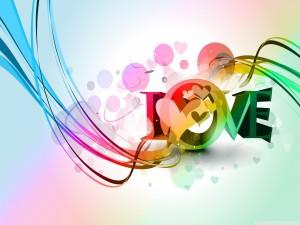 """Postal: La palabra """"Love"""" con bonitos colores y dibujos"""
