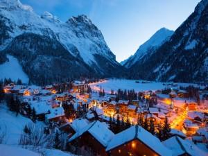 Postal: Noche invernal en el Parque Nacional de Vanoise (Francia)