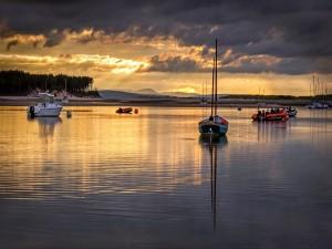 Embarcaciones amarradas en el agua al atardecer
