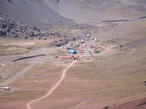 Postal: Las Cuevas desde el camino al Cristo Redentor (Mendoza, Argentina)