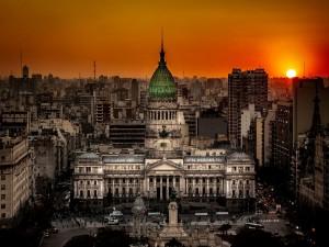 Postal: Atardecer en el Congreso de la Nación Argentina