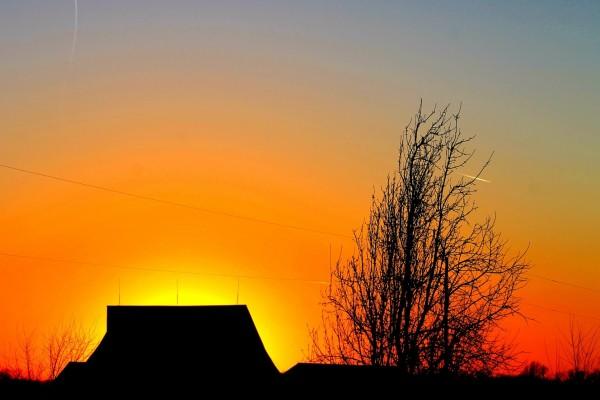 Últimos rayos de sol al otro lado de las casas y árboles