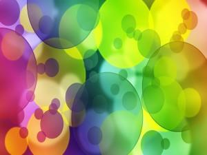 Postal: Círculos de varios tamaños y colores