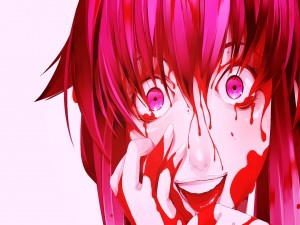 Yuno cubierta de sangre (Mirai Nikki)