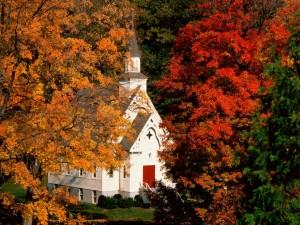 Una Iglesia entre grandes árboles otoñales