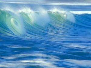 Postal: Gran ola en el mar